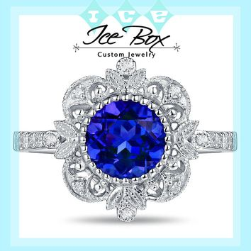 Cultured Blue Sapphire Engagement Ring - 6.5mm, 1.3ct Round Blue Sapphire Set in a 14K White gold Diamond Halo Milgrain Setting