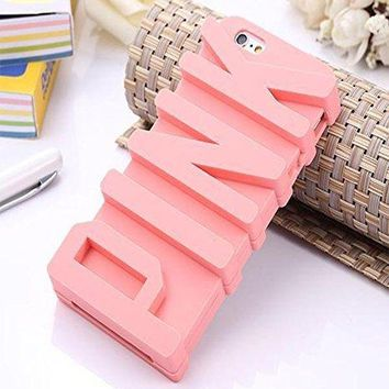 iPhone 7 Plus Case,Inspirationc 3D PINK big letters Silicone Case for iPhone 7 Plus 5.5 Inch--Pink