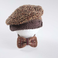 Baby Newsboy Hat and Bow Tie Set Newborn Photo Props Tweed Newsboy Cap Baby Boy Shower Gift Crochet Infant Hat Tweed Hat Cute Hats by Mila