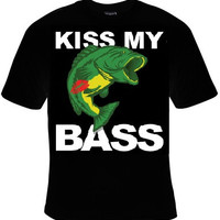 kiss my bass fishing fish t-shirt cool funny t-shirts gift present humor tee shirt comedy fun jokes tshirt