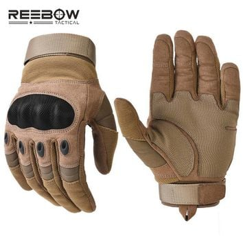 REEBOW TACTICAL Paintball Combat Gloves Full Finger Motorcycle Riding Motocross Security Gloves for Hard Knuckle Military Shoot