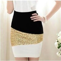 Black And White Mosaic Gold Sequined Skirt