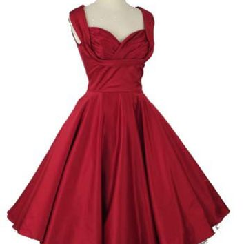 50s Style Red Shelf Bust Full Circle Skirt Dress-Vintage Style Party Dresses