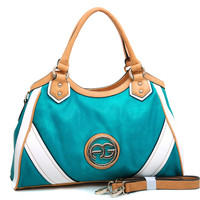 Women's Multicolored Logo Shoulder Bag w/ Bonus Shoulder Strap - Turquoise/Tan/White Color: Turquoise/Tan/White