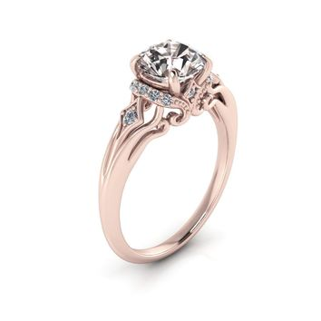 14K Rose Gold Round Morganite Victorian White Diamonds Engagement Ring