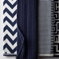 Cable-Knit Navy Cotton Throw - Neiman Marcus