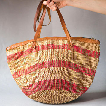 Vintage Sisal Bag. Woven Bag. Red Stripes Ethnic Tote. Woven Fiber Leather Sisal Bag. Beach Bag Striped. African Style Handmade Boho Bag
