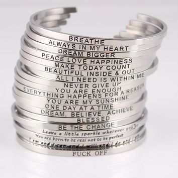 Silver Stainless Steel Engraved Positive Inspirational Quote Hand Stamped Cuff Bangles