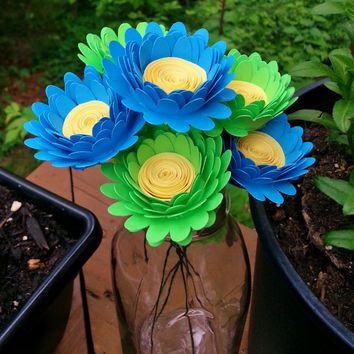 Paper Flower Bouquet - 8 Aqua and Lime Daisies - Handmade Paper Flowers for Brides, Weddings, Showers, Birthdays