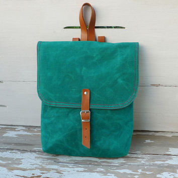 Green Waxed Canvas  Mini Backpack  with Adjustable Leather Strap / School / Travel