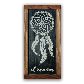 Dream - Wood Framed Sign, Solid Cedar Wood, Rustic, Children, Playroom, Nursery, Home Decor, Wall Art, Dream Catcher, Native American