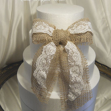Burlap and Lace Cake Topper Bow, handmade, one of a kind and ready to ship.