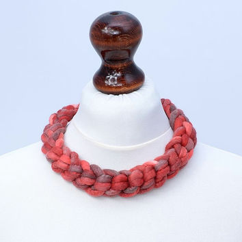 Red crocheted necklace in the braid shape - felt, braided, wool jewelry - thick, felted crochet necklace [N87]