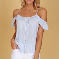 Button Up Striped Ruffle Tank Blue/ Ivory
