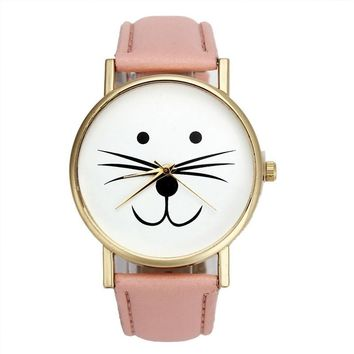 Cat Face Leather-Look Band Analog Quartz Vogue Wrist Watches