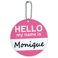 Monique Hello My Name Is Round ID Card Luggage Tag