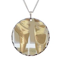 Pointe Shoes Necklace Circle Charm