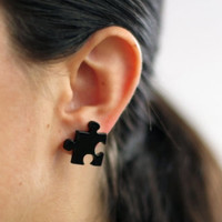 Black Puzzle Stud Earrings,Plexiglass Jewelry,Lasercut Acrylic