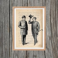Vintage Gentlemen Print Poem Poster Antique Wall Art