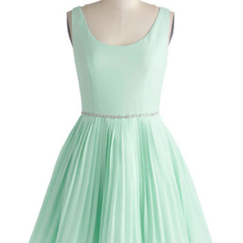 ModCloth Luxe Mid-length Tank top (2 thick straps) Fit & Flare Sage a Dance Dress in Mint