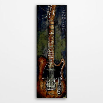 Guitar art Music Art Original textured guitar art Navy blue Army green Gray Brown Black guitar painting on 36x12 inch canvas by Magier
