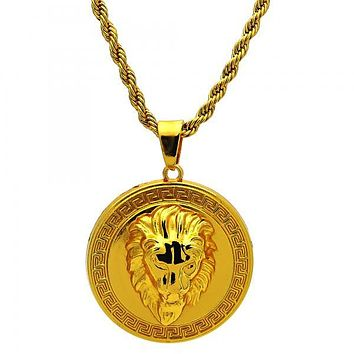Gold Tone 04.242.0009.30GT Fancy Necklace, Lion and Greek Key Design, Polished Finish, Gold Tone