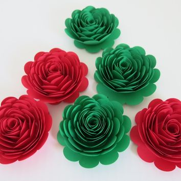 "Holiday entertaining decor, red and green paper flowers set of 6, large 3"" roses, Christmas Dinner table decor, festive wall hanging"