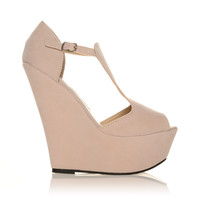 ENYA Nude Faux Suede Wedge Very High Heel Platform Peep Toes