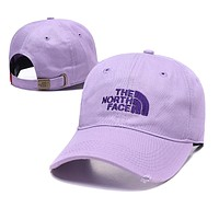 The North Face Fashionable Women Men Casual Embroidery Sports Sun Hat Baseball Cap Hat Purple