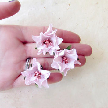 Pink Flower Hair Accessories. Light Pink Hair Flowers. Stargazer Lily Hair Clip. Blush Pink Bridesmaid Gifts. Handmade Paper Flowers.