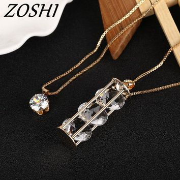 ZOSHI Fashion Gold Color Box Chain Full Jewlery Charms Pendant Necklaces Multilayer 2 Layers Long Necklace For Women Gifts