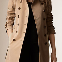Check Detail Cotton Poplin Trench Coat