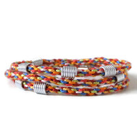 colorful kumihimo wrap bracelet with silver beads made from aluminium wire, adjustable multicolor friendship bracelet with carabiner clasp