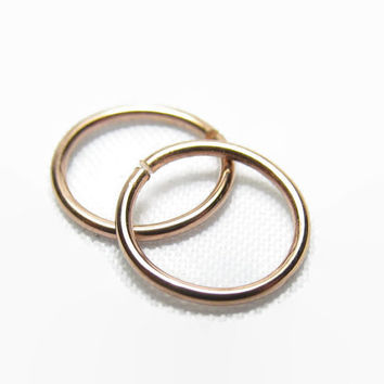 Set of 2, 12 to 24 Gauge, Rose Gold Nose Ring, Rose Gold Nose Hoop Ring, Cartilage Earring, Septum Ring, 12g 14g 16g 18g 20g 22g 24g