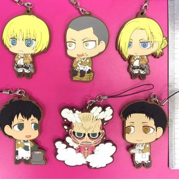 Cool Attack on Titan 6pcs/lot  Anime keychain Krista Lenz Rivaille Eren Armin Sasha Mantra Rubber strap/phone charms AT_90_11