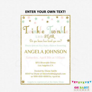 Pink Mint Gold Baby Shower Invitation Twinkle Twinkle Little Star Invites Custom Baby Invitation Editable Instant Download Printable STPMG