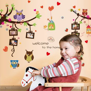 Brand 2017 Owls Photo Frames Trees Heart Shape Wall Sticker Decals Art DIY Mural Nursery Baby Kids Rooms Bedroom Home Decoration