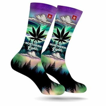 NORTHERN LIGHTS WEED MARIJUANA STONER SOCKS