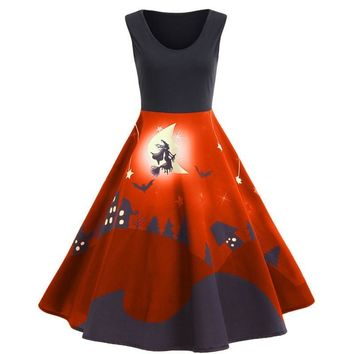 Halloween Vintage Pumpkin Print Swing Dress Sleeveless O-Neck Knee Length Retro A-Line Dress 2018 Halloween Fun Vestidos 30