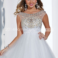US $149.99 2014 Enchanted Dress Scoop Off The Shoulder Low Back A Line Tulle White