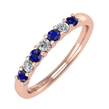 IGI CERTIFIED | 18k Gold White Diamond & Blue Sapphire Wedding/Anniversary 0.21 carat Band Ring (White, Yellow, Rose)