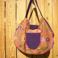 Rich Velvety Purple and Floral Flannel Le Croissant Sac Hobo Large Shoulder Bag
