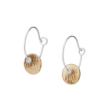 Mixed Metals Ripples Hoop Earrings | gold earrings