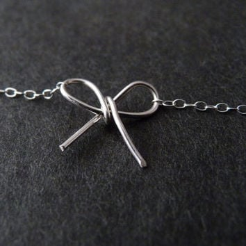Bow bracelet in sterling silver, Tie the knot, Bridesmaid gift, Bridal party jewelry