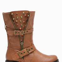 Tan Faux Leather Embellished Rider Boots