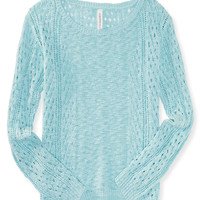 Aeropostale Womens Sheer Open-Stitch Boxy Sweater