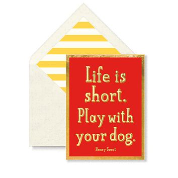 Life Is Short. Play With Your Dog. Greeting Card, Single Folded Card or Boxed Set of 8