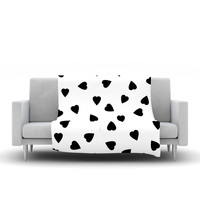 "Suzanne Carter ""Hearts Black"" White Fleece Blanket, 30"" x 40"" - Outlet Item"