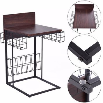 Goplus Multifunctional Sofa Side Table Living Room Tables Modern Home Furniture Decor with Storage Basket Coffee Table HW52157