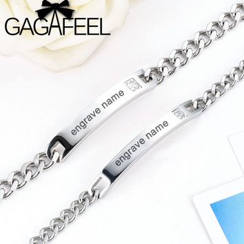 GAGAFEEL DIY Engrave Name Stainless Steel Bracelets For Women Men Customized Bracelet Inset Zircon Stone Lover Couple Bracelet